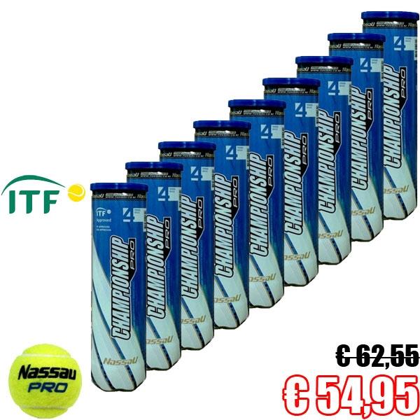 Nassau 9 x 4bal Pet CHAMPIONSHIP ITF approved tennisballen