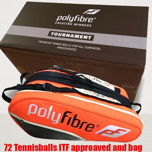 Polyfibre-72 Tournament Tennisballen + oranje 3 vaks racketbag