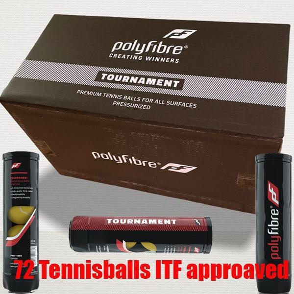 Polyfibre-Tournament Tennisballen 72 stuks gasgevuld ITF approaved