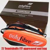 Polyfibre 72 Tournament Tennisballen + oranje 3 vaks racketbag