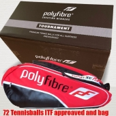 Polyfibre 72 Tournament Tennisballen + Rode 3 vaks racketbag