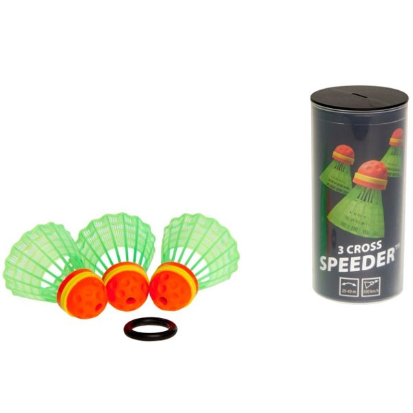 Speedminton® Tube met 3 Cross Speeders® speedbadminton