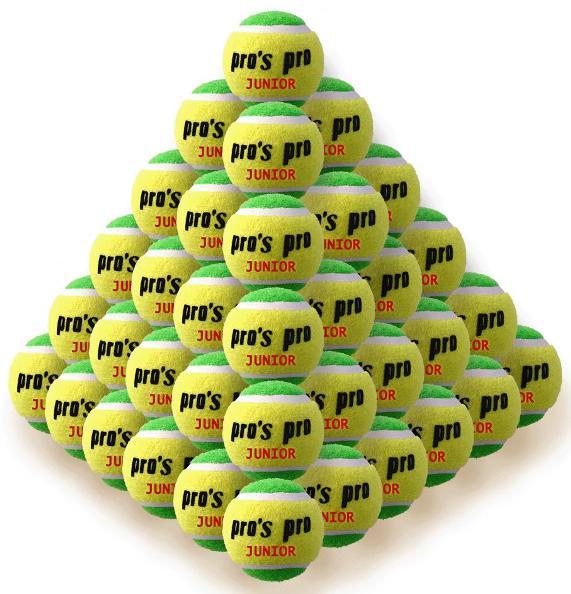 Pro's Pro junior mid-speed tennisballen geel/groen 60 stuks