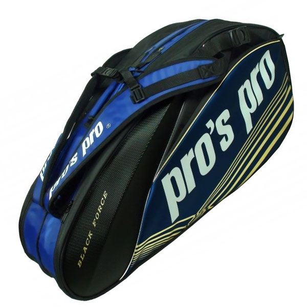 Pro's Pro Racketbag-8 Black Force blauw zwart