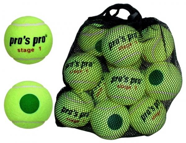 Pro's Pro Stage 1 12er Tennisbälle gelb mit grünem Punkt