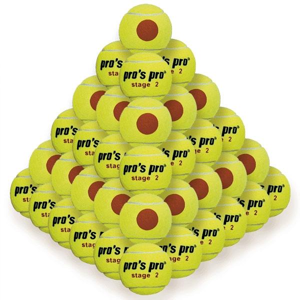 Pro's Pro Stage 2 Oranje Stip 60 stuks Tennisballen ITF approved