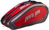 Pro's Pro 8-Racketbag rot/grau Tennistasche L103